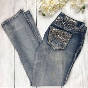 Premiere by Rue 21 Sequin Boot Cut Jeans 9/10